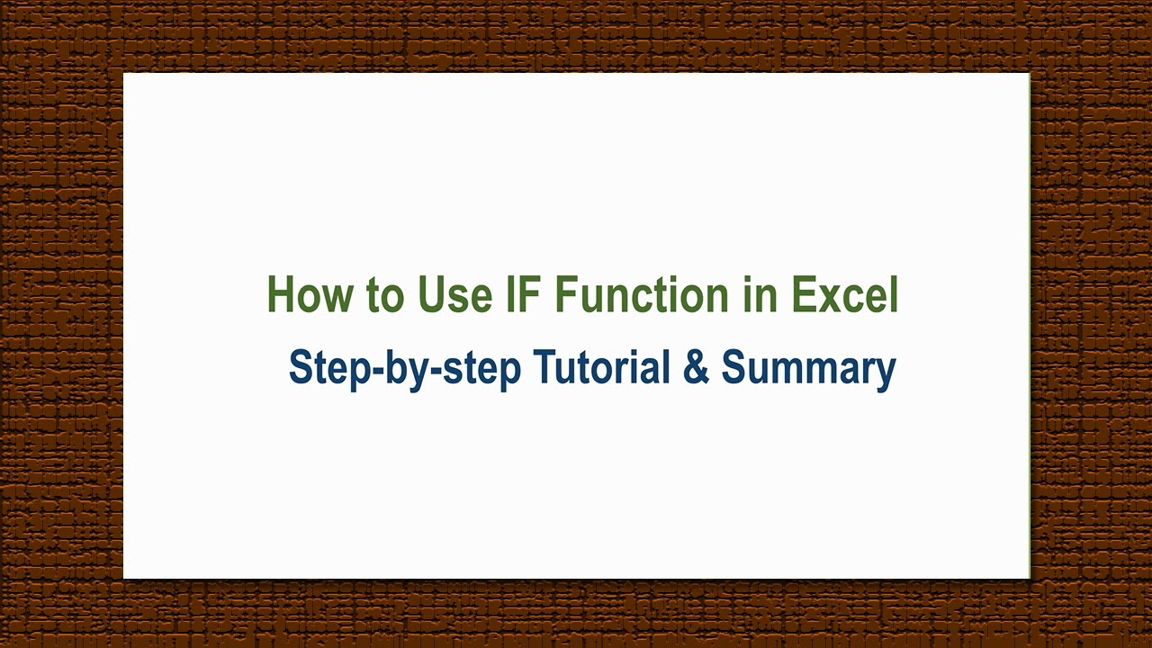 how to use excel tutorial
